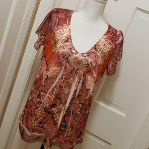 Apt. 9 orange sleeve blouse- 0X